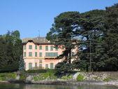 粉红色的湖畔别墅 — 图库照片