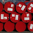 Red oil barrels — Stock Photo