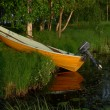 Yellow boat in lapland — Stock Photo #25820049