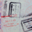 Royalty-Free Stock Photo: 5 vivid passport stamps on single page