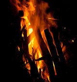 Fire isolated black background — Stock Photo