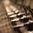 Rack of dumbell weights — Stock Photo #13659552