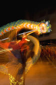 Motion blur traditional dragon dance — Stock Photo