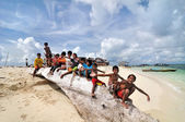 Bajau fisherman's village kids — Stock Photo