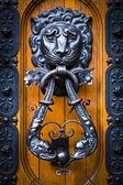 Decorative lion head knocker on a wooden door — Stock Photo