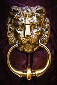 Heurtoir tête de lion décoratif sur une porte en bois — Photo
