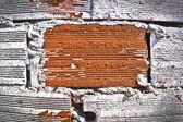 Lekeli eski tuğla duvar arka yıpranmış — Stok fotoğraf