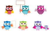 The Drawn Owls, Different Types — Stock Vector