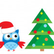 Stock Vector: Owl Under Christmas Tree