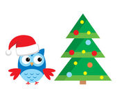 Owl Under The Christmas Tree — Stock Vector