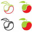 Stock Vector: Icons In Form Of Apple