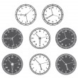 Hours Set In Black And White Color. — Stock Vector
