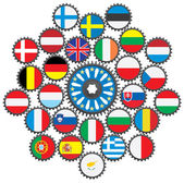 The work of the EU in the form of gears. — Stock Vector