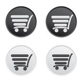 Icon set with a cart for a supermarket or shopping. — Stock Vector
