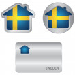 Home icon on the Sweden flag — Stock Vector