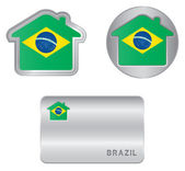 Home icon on the Brazil flag — Stock Vector