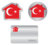 Home icon on the Turkey flag — Stock Vector