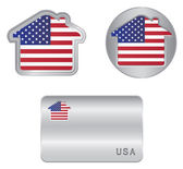 Home icon on the USA flag — Stock Vector