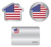 Home icon on the USA flag — Stock Vector