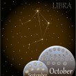 Calendar of the zodiac sign Libra. — Stock Vector