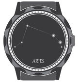 The watch dial with the zodiac sign Aries. — Stock Vector