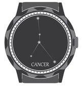The watch dial with the zodiac sign Cancer. — Stock Vector