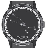 The watch dial with the zodiac sign Taurus. — Stock Vector