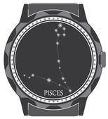 The watch dial with the zodiac sign Pisces. — Stock Vector