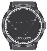 The watch dial with the zodiac sign Capricorn. — Stock Vector