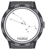 The watch dial with the zodiac sign Taurus. — 图库矢量图片