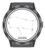 The watch dial with the zodiac sign Gemini. — Stock Vector