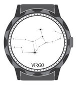 The watch dial with the zodiac sign Virgo. — Stock Vector