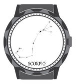The watch dial with the zodiac sign Scorpio. — Stock Vector