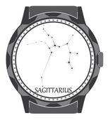 The watch dial with the zodiac sign Sagittarius. — Stock Vector