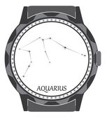 The watch dial with the zodiac sign Aquarius. — 图库矢量图片