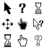 Pixel cursors icons-arrow, hourglass, hand mouse. — Stock Vector