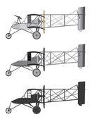 Model uçak retro çift kanatlı. — Stok Vektör