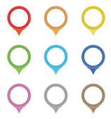 Set of circle pointers in the colors of the rainbow — Stock Vector