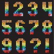 Numbers Alphabet from the multicolored mosaic — 图库矢量图片