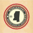 Vintage label-sticker cards of Mississippi — Vector de stock