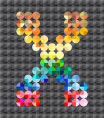 Alphabet of colorful mosaic, letter X. — Stockvektor