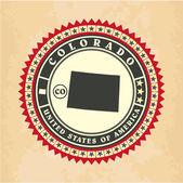 Vintage label-sticker cards of Colorado — Stock Vector