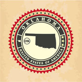 Vintage label-sticker cards of Oklahoma — Stock Vector
