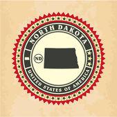 Vintage label-sticker cards of North Dakota — Stock Vector
