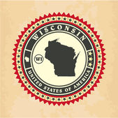 Vintage label-sticker cards of Wisconsin — Stock Vector