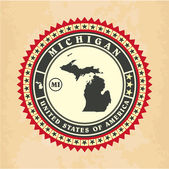 Vintage label-sticker cards of Michigan — Stock Vector