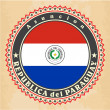 Vintage label cards of Paraguay flag. — Stock Vector
