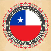 Vintage label cards of Chile flag. — Stock Vector