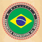 Vintage label cards of Brazil flag. — ストックベクタ