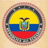 Vintage label cards of Ecuador flag. — Vetorial Stock